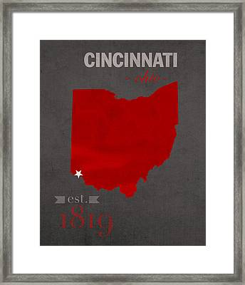 University Of Cincinnati Bearcats College Town Ohio State Map Poster Series No 029 Framed Print by Design Turnpike