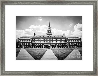 University Of Cincinnati Black And White Photo Framed Print by Paul Velgos
