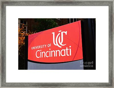 University Of Cincinnati Sign Framed Print by Paul Velgos