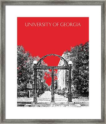 University Of Georgia - Georgia Arch - Red Framed Print by DB Artist