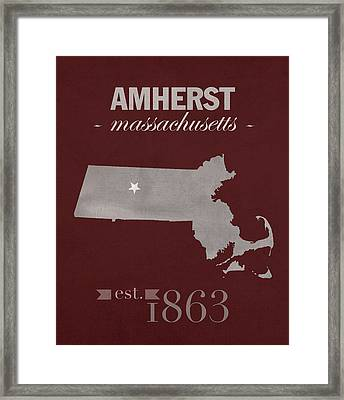 University Of Massachusetts Umass Minutemen Amherst College Town State Map Poster Series No 062 Framed Print by Design Turnpike
