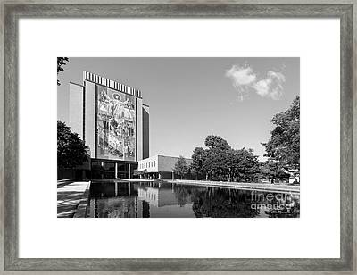 University Of Notre Dame Hesburgh Library Framed Print by University Icons