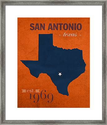 University Of Texas At San Antonio Roadrunners College Town State Map Poster Series No 111 Framed Print by Design Turnpike
