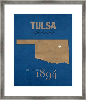 University Of Tulsa Oklahoma Golden Hurricane College Town State Map Poster Series No 115 Framed Print by Design Turnpike