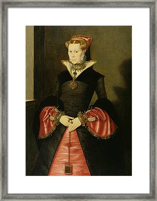 Unknown Lady From The Court Of King Framed Print by Hans Eworth or Ewoutsz