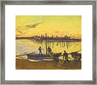 Unloaders In Arles, 1888  Framed Print by Vincent van Gogh
