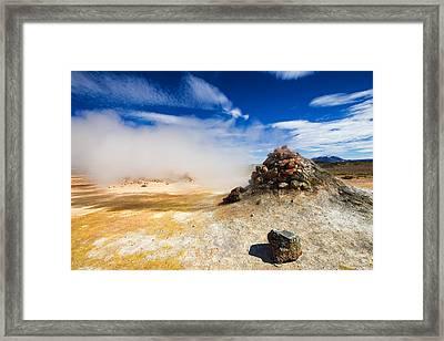 Unreal Landscape In Iceland - Geothermal Area Hverir Framed Print by Matthias Hauser