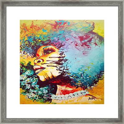 Unstrained Afro Blue Framed Print by Respect the Queen