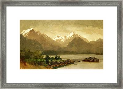 Untitled Mountains And Lake Framed Print by Albert Bierstadt
