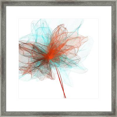 Unwind - Turquoise And Orange Art Framed Print by Lourry Legarde