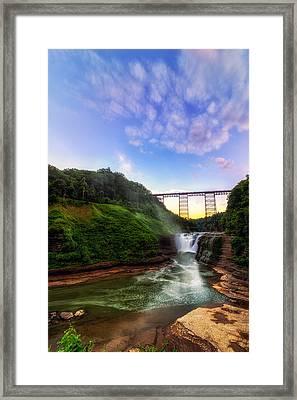 Upper Falls At Letchworth Framed Print by Mark Papke