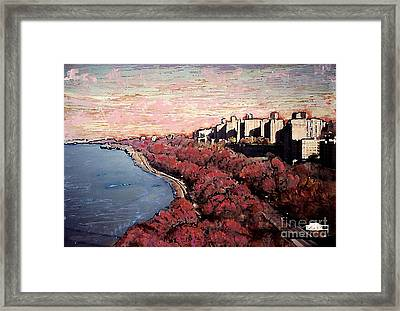 Upper Manhattan Along The Hudson River Framed Print by Sarah Loft