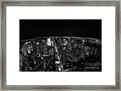 Upper Manhattan Night New York City Skyline Cityscape View  Framed Print by Joe Fox
