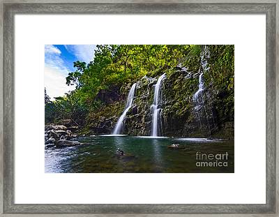 Upper Waikani Falls - The Stunningly Beautiful Three Bears Found In Maui. Framed Print by Jamie Pham