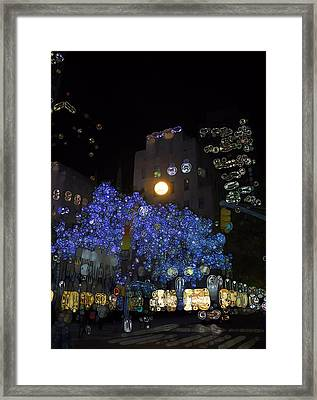 Urban Abstract Nyc At Night Framed Print by Dan Sproul
