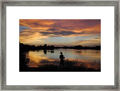 Urban Angler Framed Print by Edward Curtis