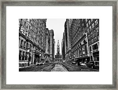 Urban Canyon - Philadelphia City Hall Framed Print by Bill Cannon