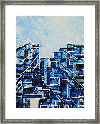 Urban In Blue Framed Print by Emma Childs