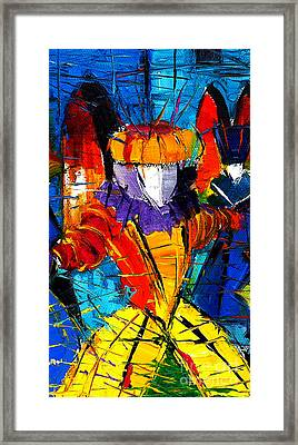 Urban Story The Venice Carnival 2 Painting Detail Framed Print by Mona Edulesco