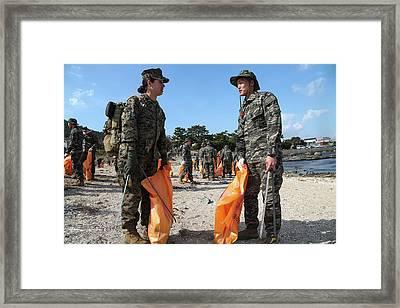 U.s. And South Korea Marines Framed Print by Stocktrek Images
