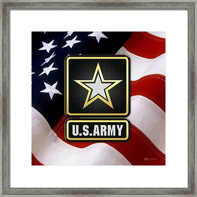 U. S. Army Logo Over American Flag. Framed Print by Serge Averbukh