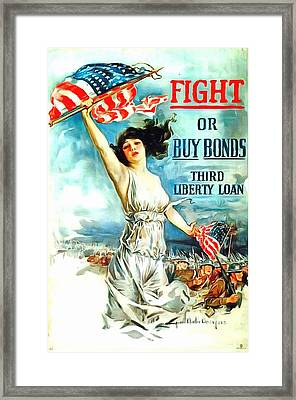 Fight Or Buy Bonds Framed Print by US Army WW I Recruiting Poster