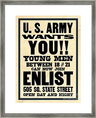 U.s. Army Wants You Framed Print by God and Country Prints
