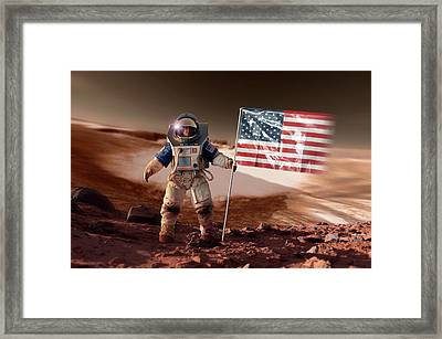 Us Astronaut On Mars Framed Print by Detlev Van Ravenswaay