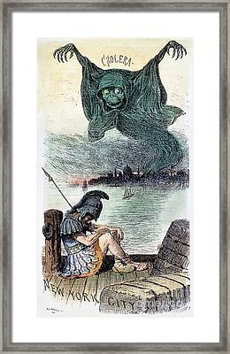 U.s. Cartoon: Cholera, 1883 Framed Print by Granger