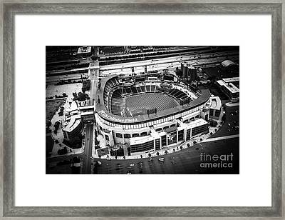 U.s. Cellular Field Aerial Picture In Black And White Framed Print by Paul Velgos