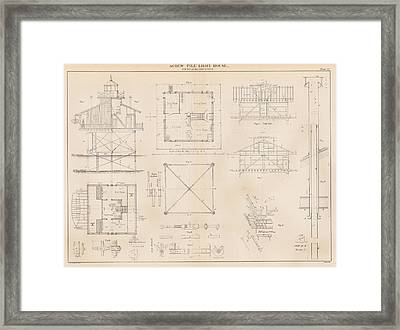 U.s. Coast Guard Drawing Of A Screw Pile Lighthouse Framed Print by Jerry McElroy - Public Domain Image