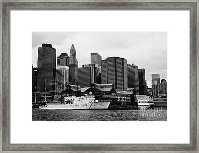 Us Coastguard Cutter Vessel Ship Berthed In Lower Manhattan New York City Framed Print by Joe Fox