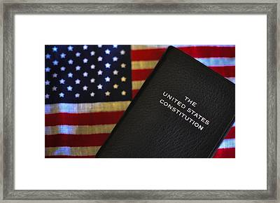 United States Constitution And Flag Framed Print by Ron White
