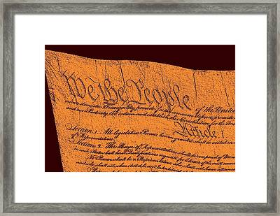 Us Constitution Closeup Sculpture Red Brown Background Framed Print by L Brown