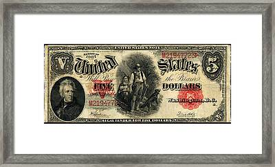Us Five Dollar United States Note Series 1907 Framed Print by Lanjee Chee