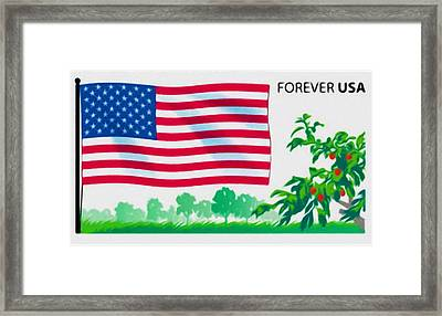 Us Flag And Fruited Plain Framed Print by Lanjee Chee