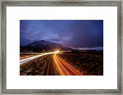 U.s. Hwy. 395 Light Trails Framed Print by Cat Connor