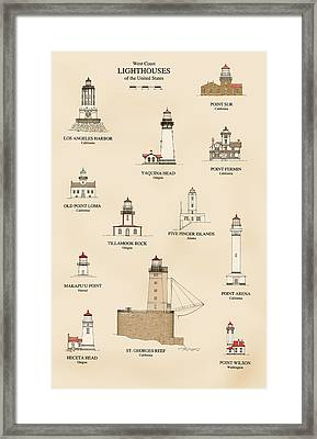 Lighthouses Of The West Coast Framed Print by Jerry McElroy - Public Domain Image