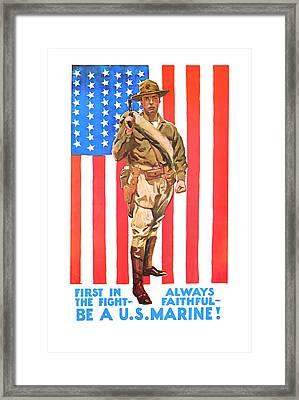 U.s. Marine Framed Print by Presented By American Classic Art