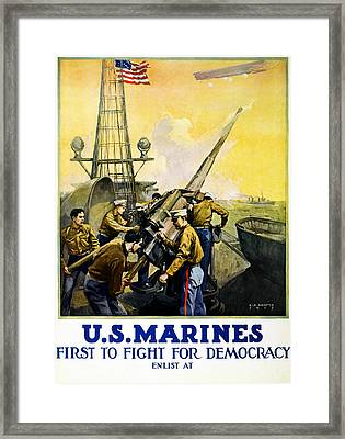 Us Marines Framed Print by Leon Alaric Shafer