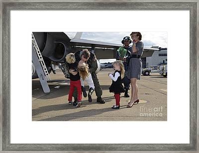 U.s. Navy Aviator Is Reunited Framed Print by Stocktrek Images
