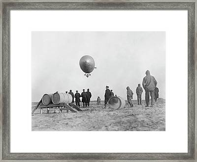 Us Navy C-3 Blimp Refuelling Framed Print by Us Navy