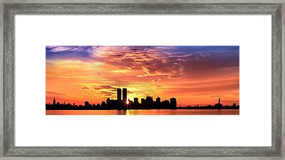 Us, New York City, Skyline, Sunrise Framed Print by Panoramic Images