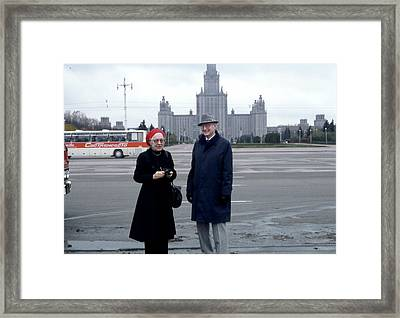 Us Physicists In Moscow Framed Print by Emilio Segre Visual Archives/american Institute Of Physics