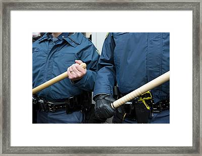 Us Police With Batons Framed Print by Jim West