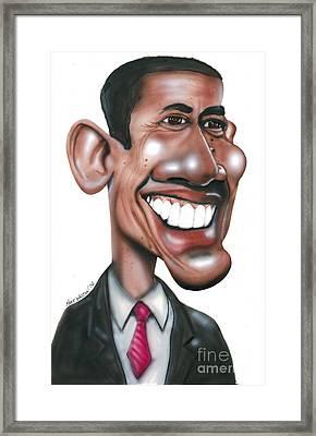 Us President Barack Obama Framed Print by Mark Weldon