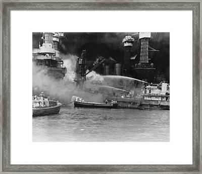 U.s. Sailors In Fireboats At The Side Framed Print by Everett