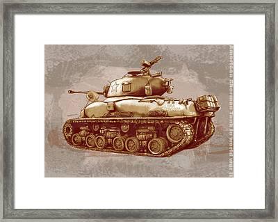 Us Sherman Tank In World War 2 - Stylised Modern Drawing Art Sketch Framed Print by Kim Wang