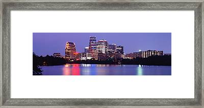 Us, Texas, Austin, Skyline, Night Framed Print by Panoramic Images