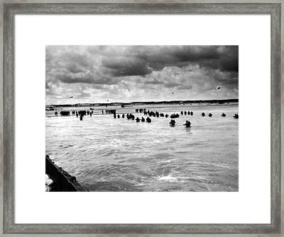 U.s. Troops Wading To Utah Beach Framed Print by Everett